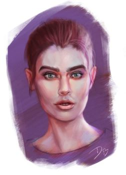 Color Practice Female Portrait by DougBurbridgeArt