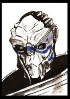 Garrus - Watercolor and Ink Painting by Fyerfly