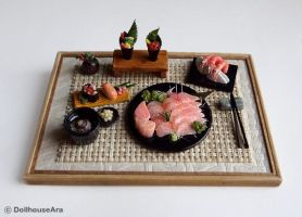 Sushi, salmon Sashimi Maki Japanese food sets by dollhouseara