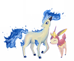 Shiny Ponyta and Deerling by Parasols