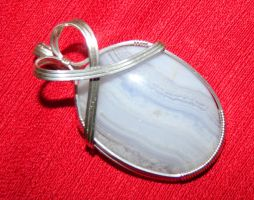 Blue lace agate pendant in argentium silver by DPBJewelry