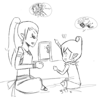 Sketch- Girl Talk by EweRox