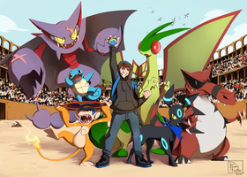Commission XIV - Pokemon team by RubyFeather