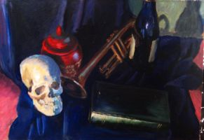 StillLife with Skull and Wine by yensidtlaw1969