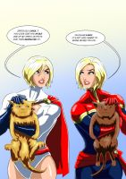 Power Girl and Captain Marvel ( of MARVEL comics ) by adamantis