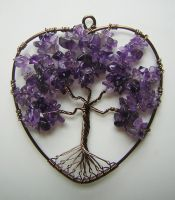 Heart-shaped Amethyst Tree of Life *SOLD* by RachaelsWireGarden