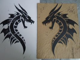 Dragon in Xylography by Sayo-TR