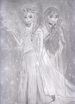 Disney Frozen Anna And Elsa by LeAniki