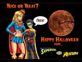 Supergirl and Robin Halloween by Superman8193