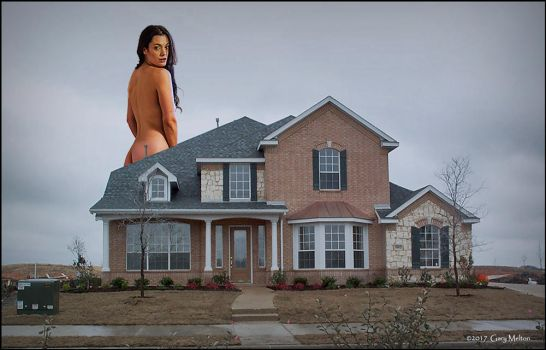 Giant exhibitionist behind house... by Gary-Melton