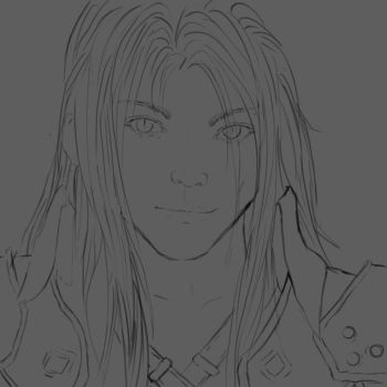 Sephiroth Final Fantasy (Head Commission) Sketch by miss-mustang