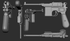 mauser c96 sculpt by Kruku