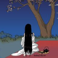Yurei drinking tea at night by PrincesaSevilla