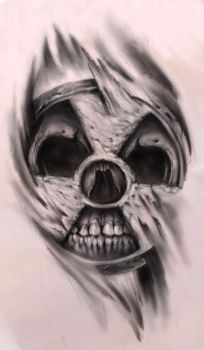 nuclear skull by bleftattoo