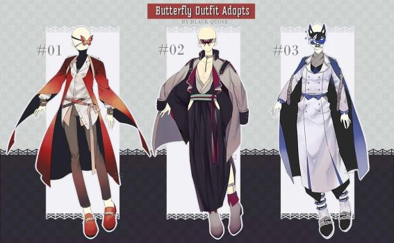 [CLOSED] Butterfly Outfit Adopt #34   Auction by Black-Quose