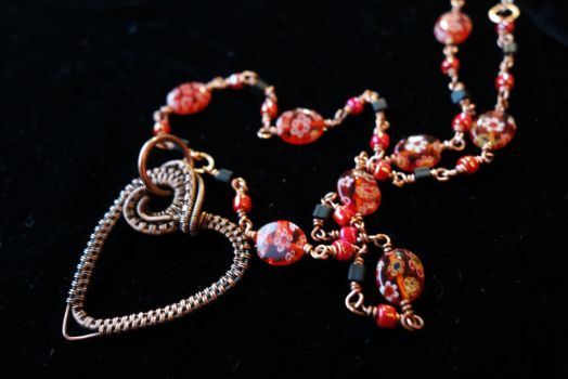 Wire wrapped heart and chain necklace by cymberrain