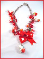 Hello Kitty necklace in red by Marjolijn-Ashara