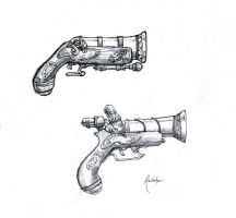 Concept: Steampunk Pirate Guns by dinfet