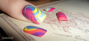 Week 20 Nail Art Challenge (Water Marble) by Jessica078