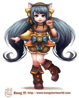 little cat girl character design by kongyi