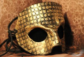 Antique Gold 'The Count' Leather Masquerade Mask by aGrimmDesign