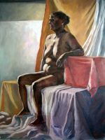 Nude sitting by Hemali