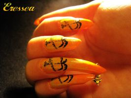 Orange and yellow nails with palms by eresseayesta