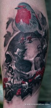 skull robin bird tattoo by Remistattoo