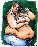 Sensual BBW in markers by TheAmericanDream