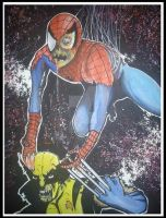 MARVEL ZOMBIES SPIDERMAN VS WOLVERINE by BUMCHEEKS2