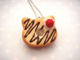 Hello Kitty Chocolate Drizzled Donut Necklace by tiramisuxfluff