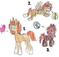 Three Badly Drawn/Colored Ponies ..::OPEN 3/3 ::.. by love-the-adopts
