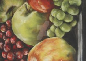Fruit Bowl in Pastels by ZEPASTELARTIST