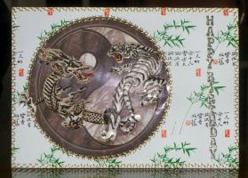 Tiger and Dragon Oriental Card by blackrose1959