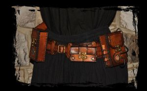 steampunk leather utility belt by Lagueuse