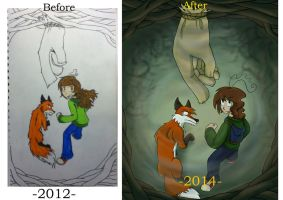Hobo story chapter2 cover(before and after) by Waterdrain