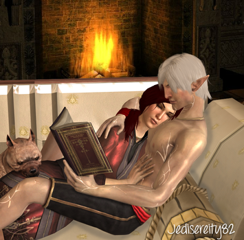 A Reading Lesson - Sage Hawke and Fenris by jediserenity82