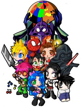 Chibi Collage of DOOM by icyookami