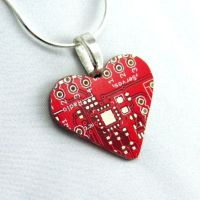 Circuit Board Necklace Red Heart by Techcycle