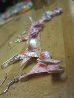 paper crane earrings by MagicalMegumi