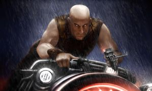Riddick Cycle in the Rain by DrKujo