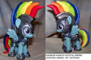 Rainbow Dash in Crystal Empire Jousting Armor by batosan