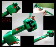 Zombie Creeper  pen - polymer clay horror by Brisbykins