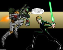 Boba Fett vs. Luke Skywalker by spiralcomix