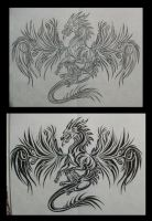 Dragon Full Back Tattoo by Maszeattack