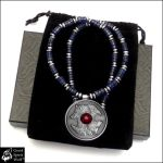 Wolf and Raven Coin Pendant on Stone Bead Necklace by GoodSpiritWolf