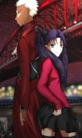 Archer and Rin Tohsaka by Ahrrhd