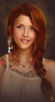 Tattooed red girl by EnyaMahuta