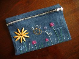 Floral Denim Pencil Case by weberquetzal