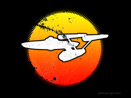 Retro 70's style abstract starship by JefferyWright
